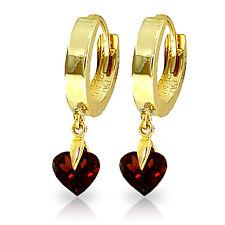 1.5 CTW 14K Solid Gold Hoop Earrings Natural Garnet