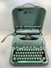 Vintage Hermes 3000 SCRIPT/Cursive Portable Green Typewriter W/Case Brush Read D