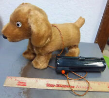 vintage Toy Jumping dog with remote (doesnt work anymore) Brown fuzzy dog, cute