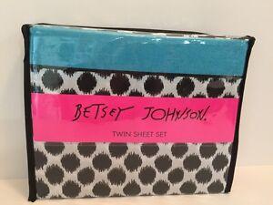 New Betsey Johnson IKAT Dot 3 pc sheet set Twin cotton blend White/Black/Blue