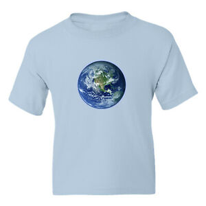 Earth World Kid Girl Boy Youth Unisex Crew Neck Short Sleeve Top Tee T-Shirt