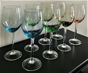 """Set Of 8 Mikasa Multi Color Crystal Red Wine Glasses """"Cheers Collection"""" Pastel"""