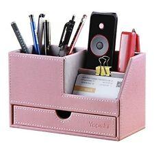 Office Supplies Desk Organizers Caddy Pu Leather Desktop Accessories Storage