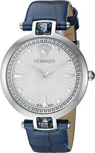 Versace Women's Crystal Gleam Stainless Swiss-Quartz Leather Watch VAN020016
