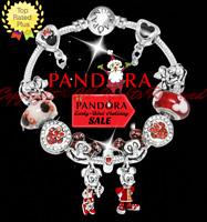 Authentic Pandora Bracelet Silver Red Disney Minnie Mickey with European Charms