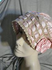 Vintage 20s PINK Satin Night Cap Boudoir Crochet Ribbon VGC Ecru Hat
