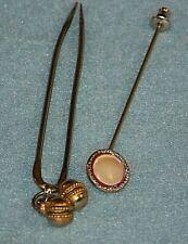 Antique Lot Of 2 Hat Pin Stick Pin Hair Pin