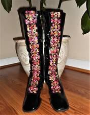 Nos Vintage Floral Black Mod Hippy Retro Embroidered Knee High Boots 5 1/2 5.5