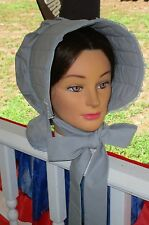 Civil War Dress Victorian Accessories Lady'S Gray 100% Cotton Slat~Sun Bonnet