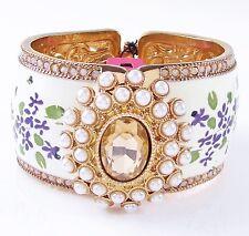 Betsey Johnson VINTAGE BOWS Cameo Floral Rose Gold Tone Hinged Bangle Bracelet