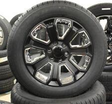 "Set 4 NEW Satin Black and Chrome 20"" GMC Yukon Sierra Denali Wheels Tires"