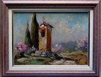 Tableau paysage oratoire de Provence Tourrette-Levens Elie BERNADAC (1913-1999)