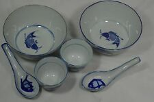 SET Of 2 Oriental BLUE FISH BOWLS & Spoons & Sake Cups
