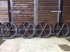 Set of 4 Large, Heavy 40inch New Cast Iron Shepherd Hut Wheels