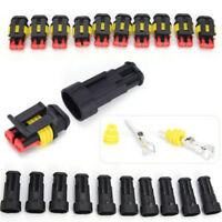5x 2Pin Car Black Waterproof Electrical Connector Plug With Wire AWG Marine