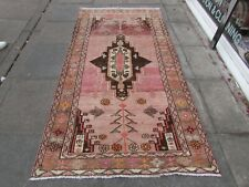 Shabby Chic Worn Vintage Hand Made Traditional Pink Wool Long Rug 250x123cm
