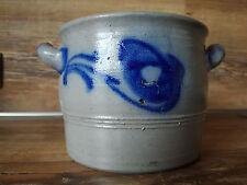 Alter Steingut - Topf - Salzglasur mit blauer Bemalung aus der Eifel von ca 1920