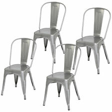 4 Piece Heavy Duty Stacking Metal Industrial Kitchen Bar Dining Room Chairs Set