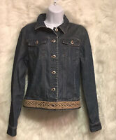 Ann Taylor Women's Denim Crochet Trim Jean Jacket Sz M - EUC
