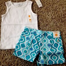 Nwt Gymboree 2pc Outfit Summer Spring White Top/Aqua Patterned Shorts Girl 6 $38
