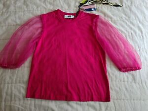 MSGM hot pink cotton  t shirt size xs uk 8 brand new with tags
