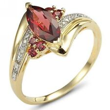 Jewelry Solitaire Size 8 Emerald Cut Garnet Halo 18K Gold Filled Ring For Womens