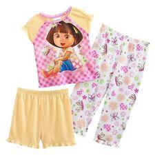 Dora the Explorer Nickelodeon 3 Piece Pajama Set Toddler Girl 2T - FREE SHIPPING