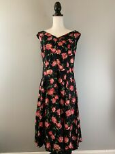 TALBOTS Midi Dress Black Pink Floral V-Neck Sleeveless Cotton Full Skirt Size 8