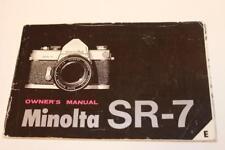 Camera Manual Minolta SR-7 Owner's Guide Instructions English E