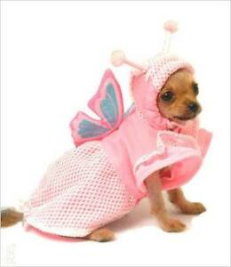 Butterfly Pink dog costume shirt with sparkly wings 20cm - 25cm small - New