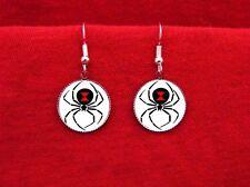 Black Widow Spider Tattoo Earrings Goth Arachnid