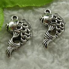 free ship 150 pcs tibet silver fish charms 20x12mm #4008