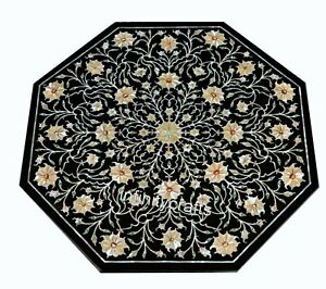 24 Inches Octagon Marble Coffee Table Top Mosaic Art Sofa Table for Living Room