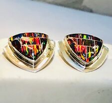 Trinity Solid Opal Black Red Golden FIRE Ladies Earring Post Sterling Silver 925