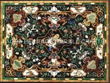 5'x4' Black Marble Dining Room Table Top Pietra Dura Inlay Furniture Decor H5097