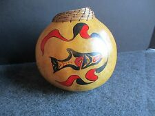 NORTHWEST COAST BOWL OR JUG, HAND CARVED & PAINTED GOURD BOWL    WY-01663
