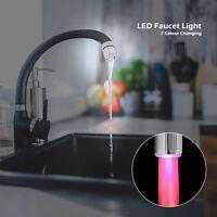 7 Couleur LED Embout Robinet Faucet Lumineux Sonde Température Lavabo Maison DEL
