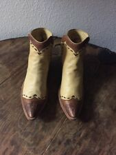 Vintage 1960s Rare Buckskin Ankle Cowboy Boots Tooled Leather Pointy Toe Western