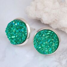 12mm Green Sparkly Round Druzy Earrings Studs