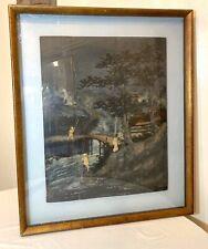 Large antique Japanese wood relief sculpture mixed media landscape painting art.