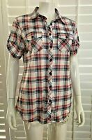NWT* Short SLV Plaid Button Up Knit Shirt w/Roll up button Tab Size WhiteRedBlue
