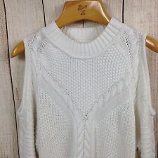 H & M Divided Large Cold Shoulder Cut Out Women Long Sleeve Blouse Sweater White