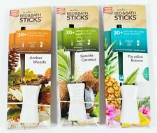 3 Enviroscent Bed Bath Sticks AMBER WOODS, PARADISE BREEZE, SEASIDE COCONUT
