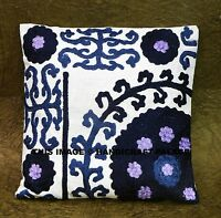 """White 16"""" Cushion Pillow Cover Ethnic Suzani Embroidered Throw Indian Decorative"""