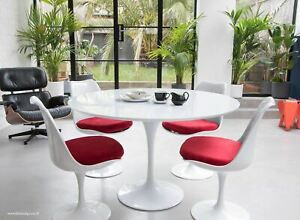 120cm White Laminate Round Tulip Style Dining Table & 4 Tulip Style Side Chairs