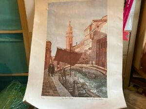 """FRANCES ST CLAIR MILLER b1947 Limited Ed ETCHING """"The Fruit Barge, Venice"""" 32/90"""