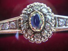Hermoso Brazalete De Oro Victoriana Con Cabujón Zafiro Y Diamantes