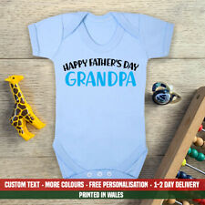 Happy Fathers Day Grandpa Blue Baby Vest New First Dad Son Grandson Gift Idea