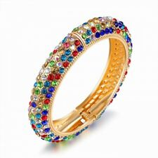 BRAND NEW 18K GOLD PLATED AND GENUINE MULTI-COLOURED CUBIC ZIRCONIA OPEN BANGLE