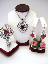 "Brighton ""TRUE HEART"" Necklace-Earring-Bracelet Set (MSR$156) New/Pouch"